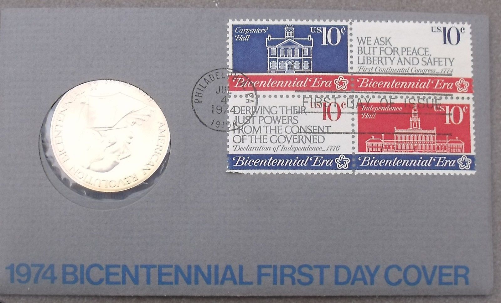 Primary image for 1974 BICENTENNIAL FIRST DAY COVER MEDALLION~REVOLUTION~JOHN ADAMS~FREE SHIPPING~