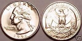 1996-D BRILLIANT UNCIRCULATED WASHINGTON QUARTER~FR/SHI - $3.54
