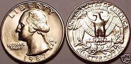 1987-P BRILLIANT UNCIRCULATED WASHINGTON QUARTER~FR/SHI - $3.51