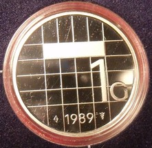 Rare Encapsulated Proof Netherlands 1989 Gulden~15,300 Minted~Free Shipping - $17.12
