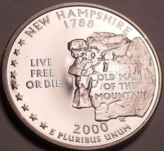 Incredible Cameo Proof 2000-S New Hampshire State Quarter~Free Shipping~ - $4.45