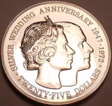 Rare Silver Proof Cayman Islands 1972 $25~Elizabeth And Phillip 25th Year~Fr/Shi - $60.71