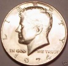 Gem Brilliant Unc 1974 P Kennedy Half Dollar~Free Ship~ - $4.68