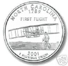 2001-D NORTH CAROLINA BRILLIANT UNC STATE QUARTER - $1.72