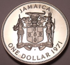 Rare Cameo Proof Jamaica 1971 Dollar~Only 15,000 Minted~Excellent~Free Shipping - $16.45