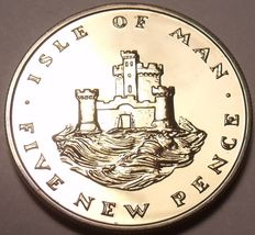 Rare Proof Isle Of Man 1971 5 Pence~Only 10,000 Minted~Castle On a Hill~Free/Shi - $10.09