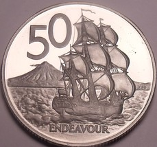 Huge Cameo Proof New Zealand 1979 50 Cents~16,000 Minted~Free Shipping - $18.70