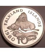 Huge Rare Proof Falkland Islands 1980 10 Pence~Ursine Seal~10k Minted~Fr... - $17.79