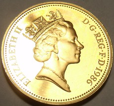 Gem Cameo Proof Great Britain 1986 2 Pence~Welsh Plume~Mintage 125,000~F... - $8.21