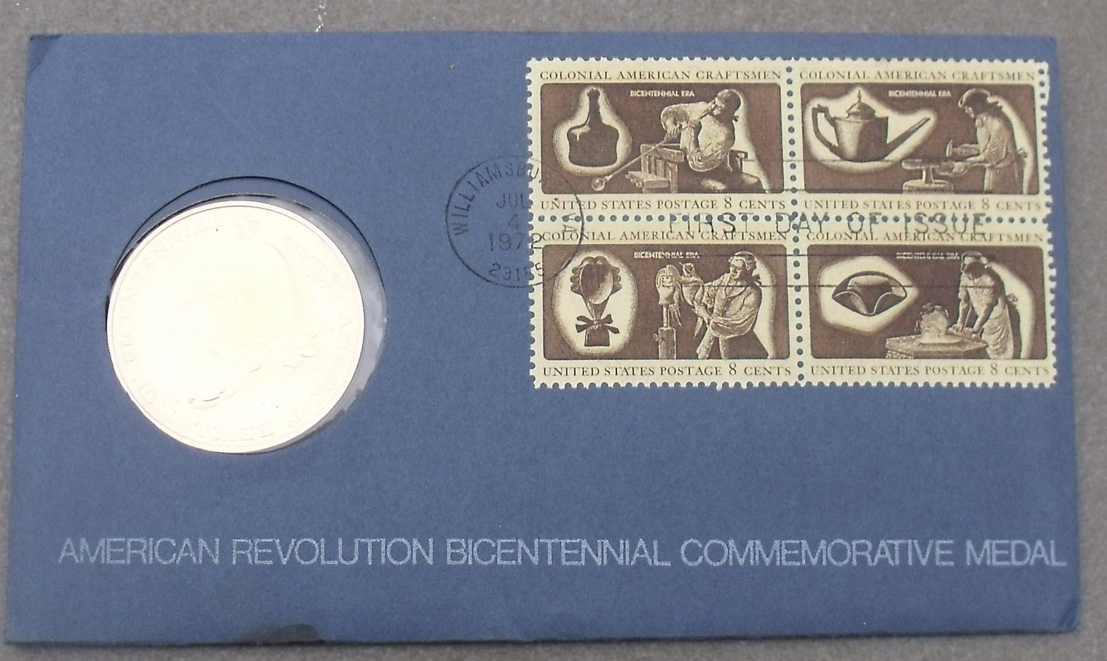 1972 BICENTENNIAL FIRST DAY COVER MEDALLION~REVOLUTION~GEORGE WASHINGTON~FR/SHIP - $14.23