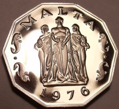Massive Rare Proof Malta 1976 50 Cents~The Great Seige Monument~26k Minted~Fr/Sh - $21.42