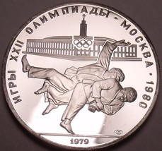Silver Proof Russia 1979 10 Roubles~Mintage 108,000~Olympic Judo~Free Shipping - $56.63