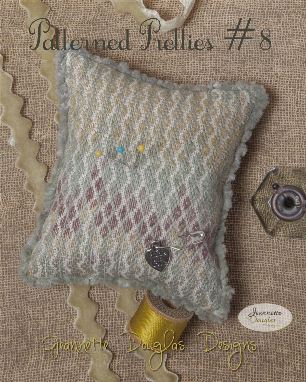 Patterned Pretties 8 Pyn Pillow Kit cross stitch kit Jeanette Douglas Designs - $10.80
