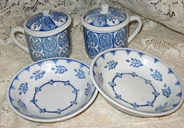 Blue & White Transferware Dish Set- Tea Cup and Cover w/ Bowls-IDC-Two Sets - $14.00
