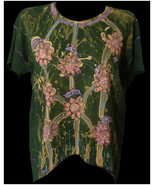 Unique beaded vintage tie dye top t shirt- Kaftan beach cover up-12 14 b... - $35.00