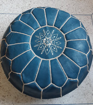 Set of 2 x High Quality of Leather Pouf  - Hand stitched & embroidered Leather O