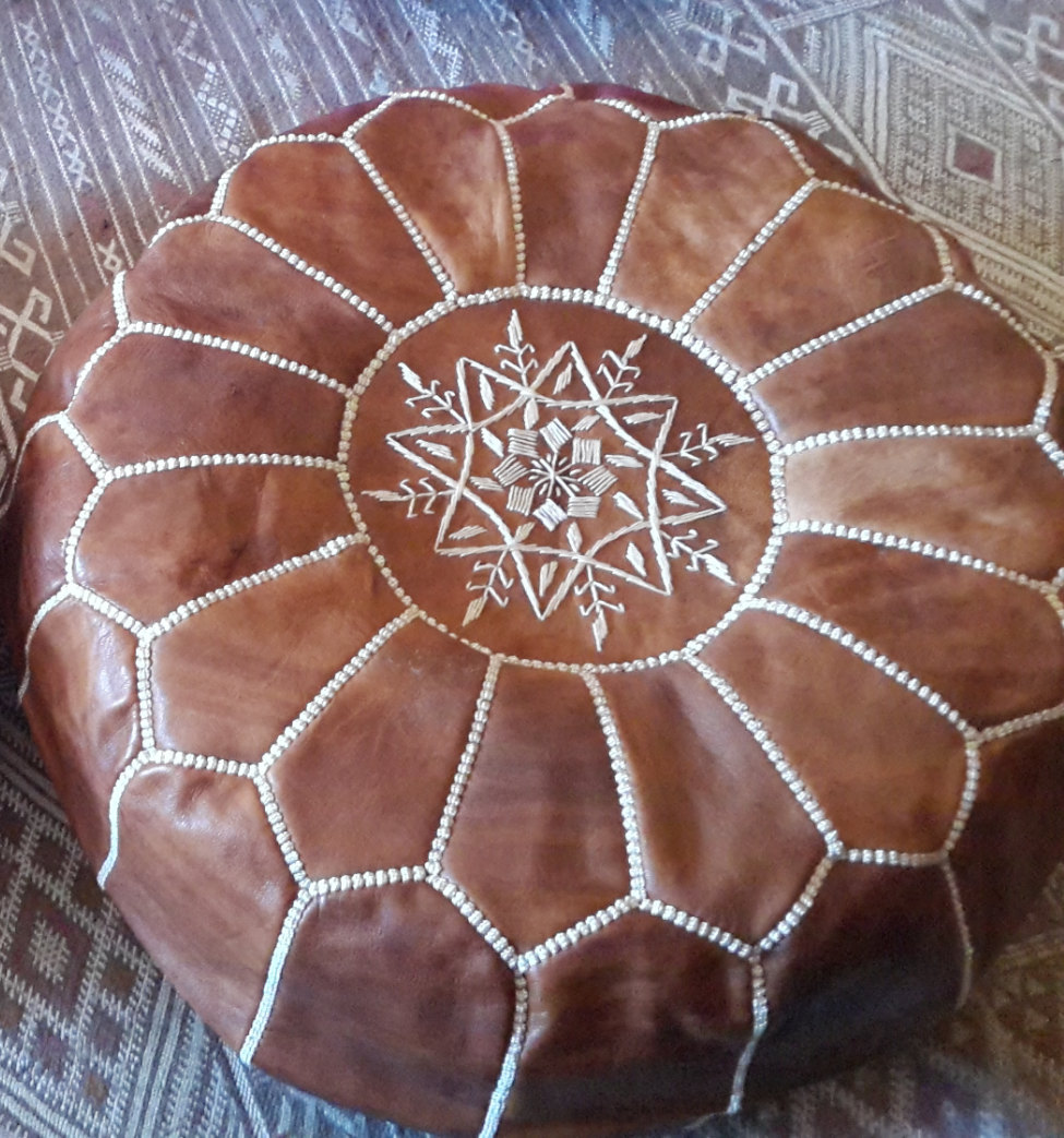 Pouf of Marrakesh / Hand stitched & embroidered Leather Ottoman Pouf /Morrocan P