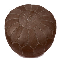 Hand stitched & embroidered Leather Ottoman Poof /  Pouf  Brown color