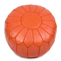 Hand stitched & embroidered Leather Ottoman Poof /  Pouf Cuir /Morrocan Pouf ora