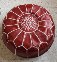 Hand stitched & embroidered Leather Ottoman Pouf /red color