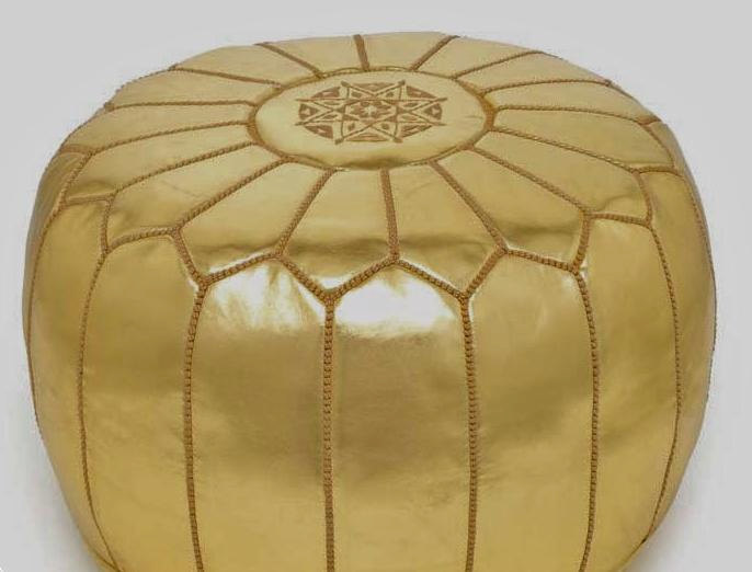 Top Quality Moroccan Pouf / Gold color / Hand stitched  & embroidered SKI  Leath