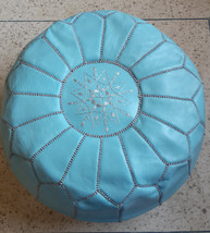 High Quality / Hand stitched & embroidered Leather Ottoman Pouf/Morrocan Sky blu