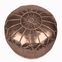 Hand stitched & embroidered Leather Ottoman Poof /  Pouf bronze color