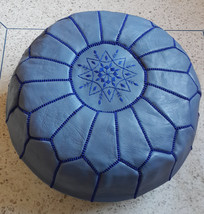 Hand stitched & embroidered Leather Ottoman Poof /  Pouf Cuir / Pastel blue purp