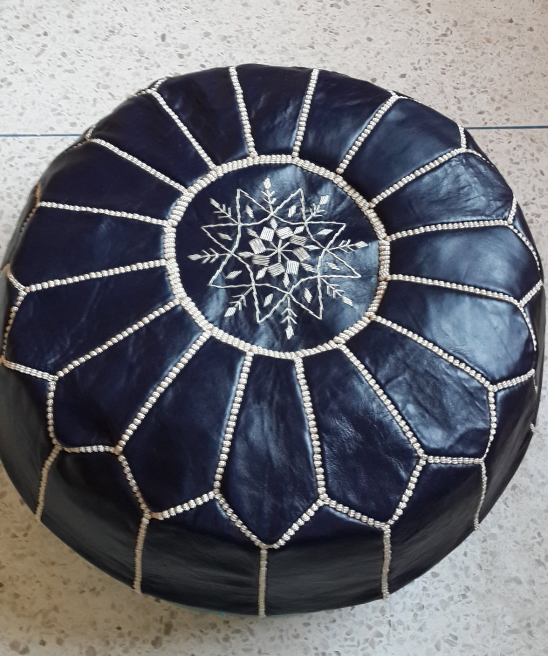 High Quality / Hand stitched & embroidered Leather Ottoman Poof /  Pouf Cuir /Mo
