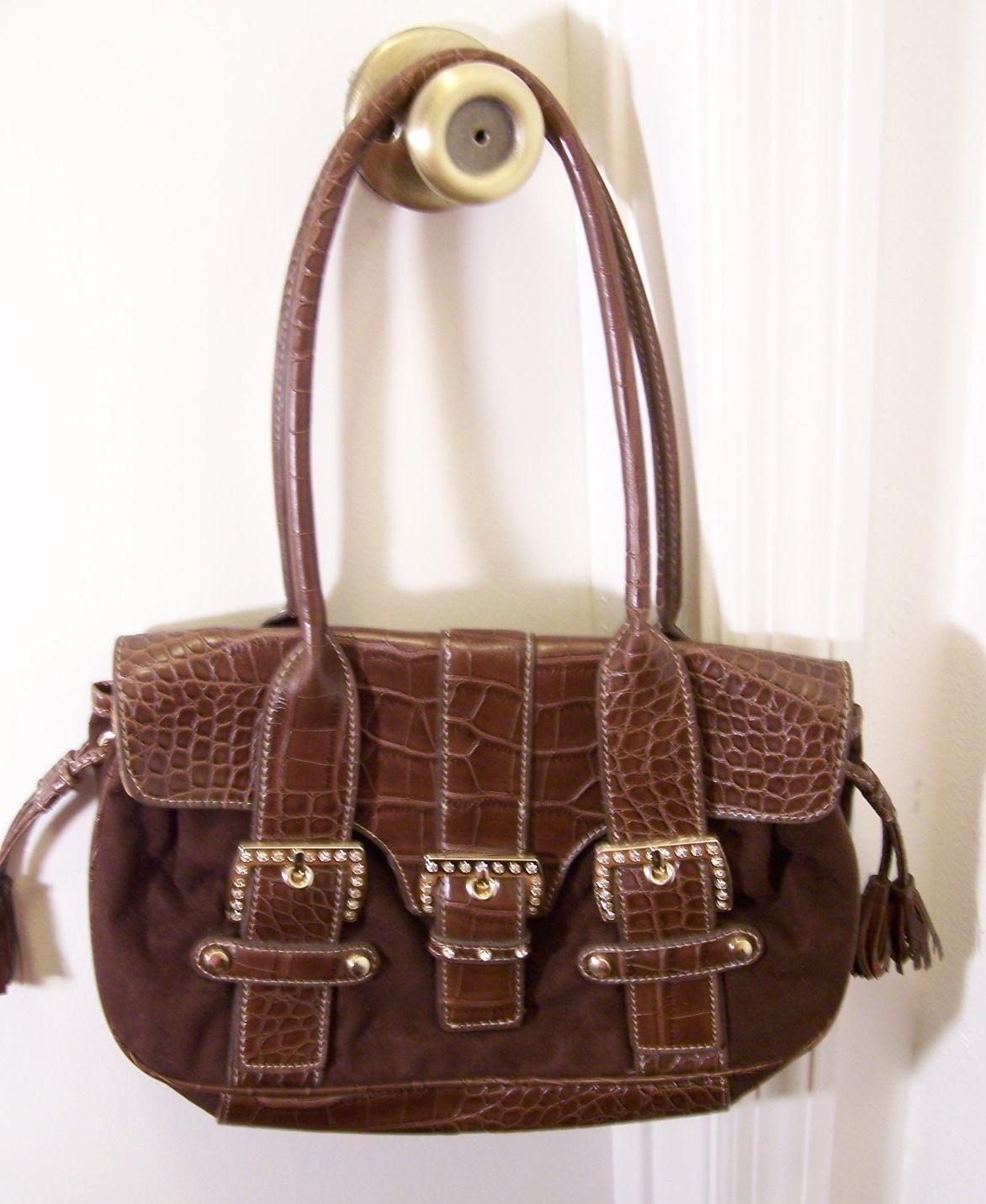 Kathy Van Zeeland Faux Croc Leather/Suede Strappy Brown Satchel Purse w/Buckles