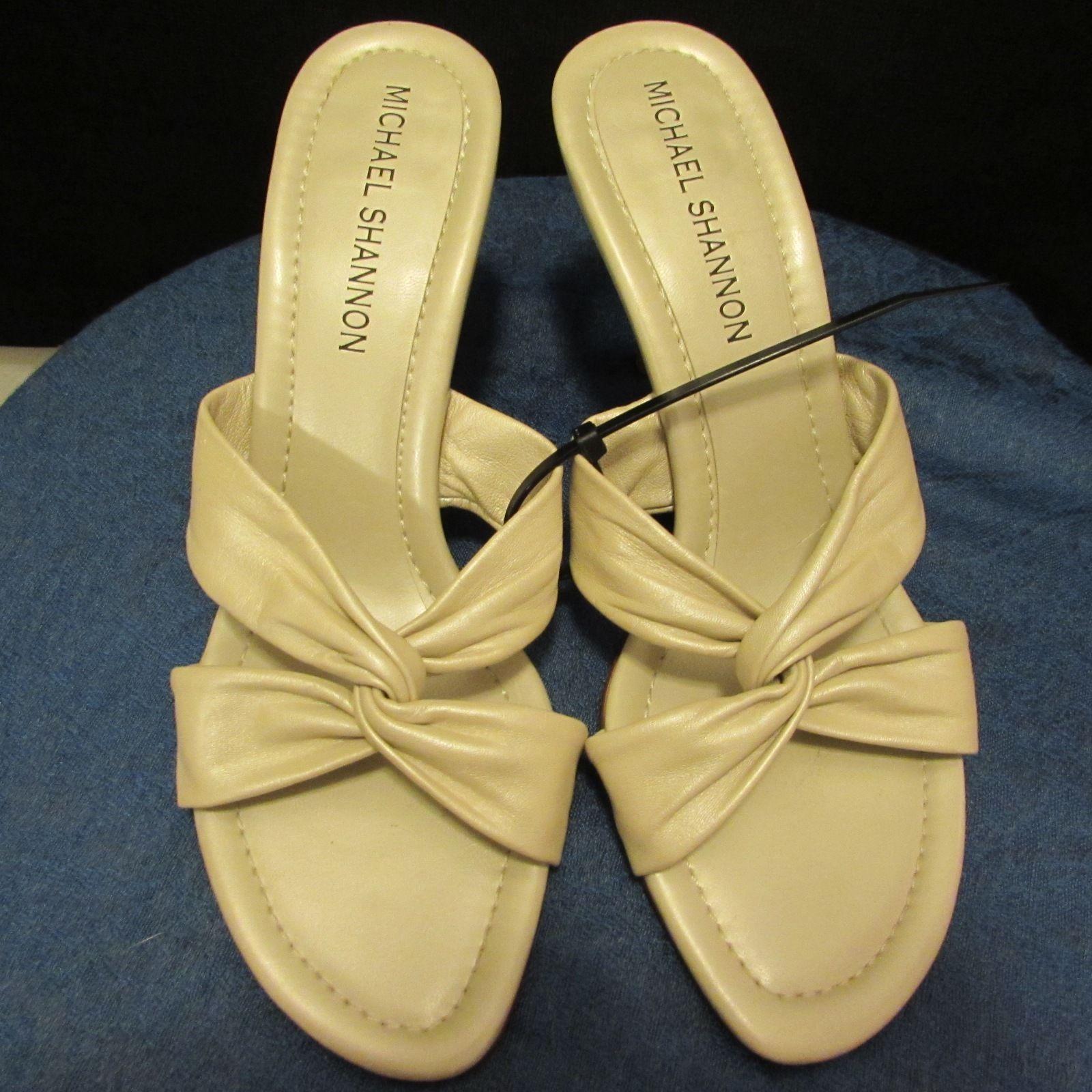 Michael Shannon Women's Beige Leather Sandal/High Heels Size: 8.5 Medium (B,M)