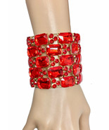 "2.75"" W Red Glass Crystals Luxurious Bracelet Pageant Bridal Drag Queen - $33.21"