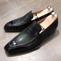 Handmade Men's Black Slip Ons Loafer Leather Shoes image 1