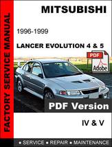 Mitsubishi Lancer Evolution 4 & 5 1996   1999 Official Oem Service Repair Manual - $14.95