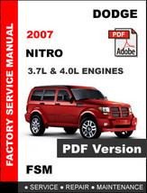 DODGE NITRO 2007 ULTIMATE OFFICIAL FACTORY OEM SERVICE REPAIR SHOP FSM M... - $14.95
