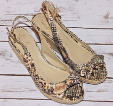 Franco Sarto Size 8 M Snake Print Open Peep Toe Slingback Wedge Shoes Bow Cannes - $24.22