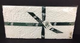 "Irish Linens Crochet Placemats  (4) Off White 30x46 CMS/ 12""x16"" Brownlow - $16.82"