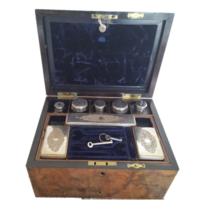 Antique Victorian Gentleman Burl Walnut Travel Vanity Case with Keys - $967.41