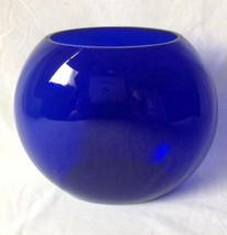 Colbalt Blue Art Glass Pillow Vase Round Oval Hand Blown? Unsigned - $29.95