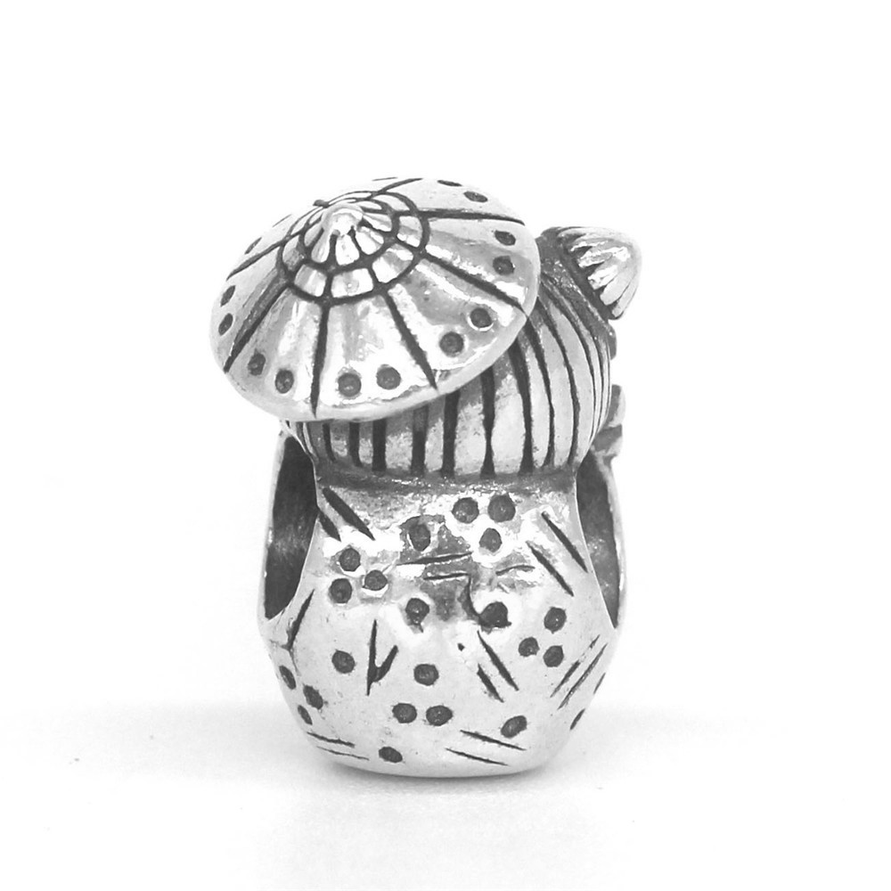 Mistletoe Genuine 925 Sterling Silver Umbrella doll Charm Bead Fit OHM Troll And