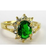 Emerald Green Chrome Diopside Oval Gold Wash St... - $72.00