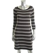 Calvin Klein Sweater Dress Large NWT Black, Brown and White Chevron MSRP... - $49.99