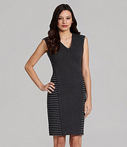 CALVIN KLEIN DRESS SIZE 12 BLACK/CHARCOAL STRIPE  SHEATH SLEEVELESS NWT - $39.99