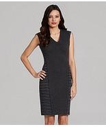 CALVIN KLEIN DRESS SIZE 12 BLACK/CHARCOAL STRIPE  SHEATH SLEEVELESS NWT - $49.99