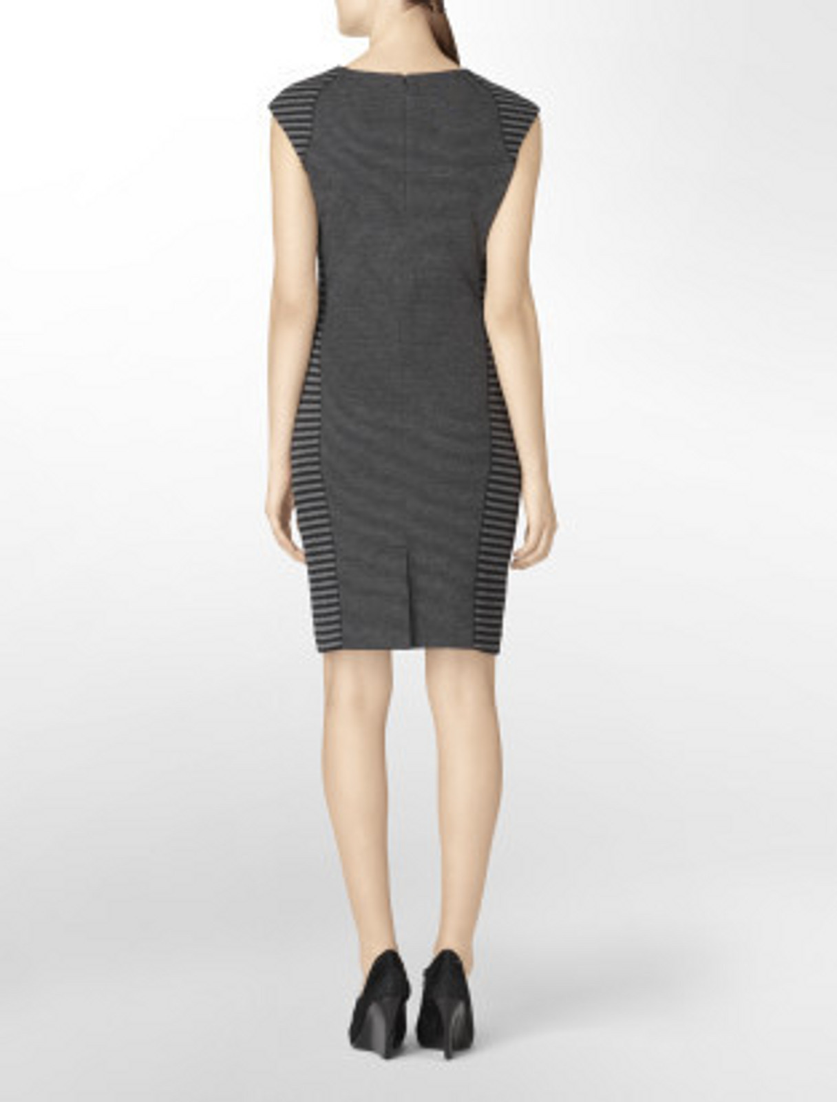 CALVIN KLEIN DRESS SIZE 12 BLACK/CHARCOAL STRIPE  SHEATH SLEEVELESS NWT