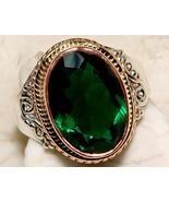 6CT Emerald Quartz 100% Pure 925 Solid Sterling Silver Victorian Style R... - $22.00