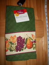 Better Homes Kitchen Towel BHG Grapes & Pears 15 x 25 Green Holiday Line... - $7.59