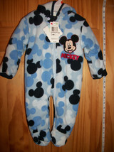 Disney Baby Clothes 0M-3M Mickey Mouse Pram Hoodie Sleeper Blue Hooded O... - $28.49