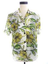 Dressbarn Chiffon Green & Yellow Tropical Blouse Mock 2pc Petite PS Top - $18.62