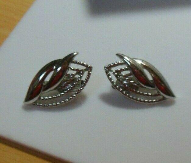 Signed Trifari TM Textured Leaf Clip-on Earrings